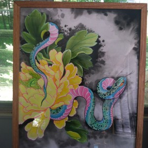 dana helmuth peony and snake painting